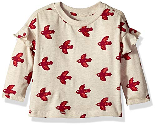 - Gymboree Baby Girls Long Sleeve Graphic Top, Free Bird Cream, 3-6 Mo