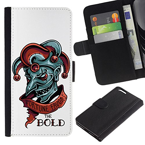 EuroCase - Apple Iphone 6 PLUS 5.5 - Fortune Favors The Bold - Evil Joker - Cuir PU Coverture Shell Armure Coque Coq Cas Etui Housse Case Cover