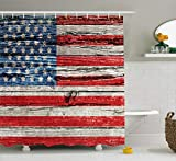 Ambesonne American Flag Shower Curtain USA Decor, Painted Old Wooden Panel Wall Looking Freedom Symbol Print Theme, Polyester Fabric Bathroom Set with Hooks, 75 Inches Long Blue and Red