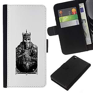 KLONGSHOP // Tirón de la caja Cartera de cuero con ranuras para tarjetas - Tarjeta de la muerte Cráneo Cartel Poker - HTC DESIRE 816 //