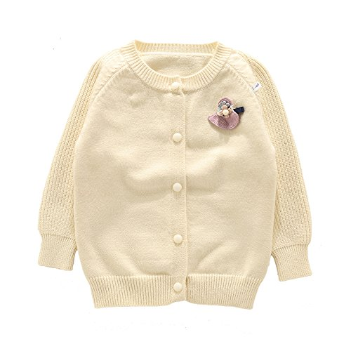 Girls Cashmere Cable (Moonnut Little Girls' Cashmere Cable Knit Cardigan Sweater (Baby/ Toddler) (2T, White))