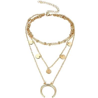 d4d83bf18c65 Trifycore Luna diseño del collar de la cadena collar colgante Gargantilla  Mehrr Aya de la Mujer-Oro  Amazon.es  Joyería