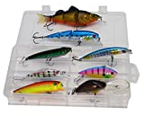 LotFancy 8 PCS Fishing Lures Baits by, Multi-Jointed Swimbaits, Crankbaits, Minnow Hard Fishing Lures for Walleye Bass Trout Salmon, Storage Tackle Box