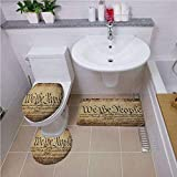 Bath mat set Round-Shaped Toilet Mat Area Rug Toilet Lid Covers 3PCS,United States,Vintage Constitution Text of America National Glory Fourth of July Image,Light Brown ,Bath mat set Round-Shaped Toile