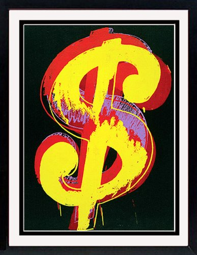(Andy Warhol Art Poster Print Dollar Sign Custom Framed )