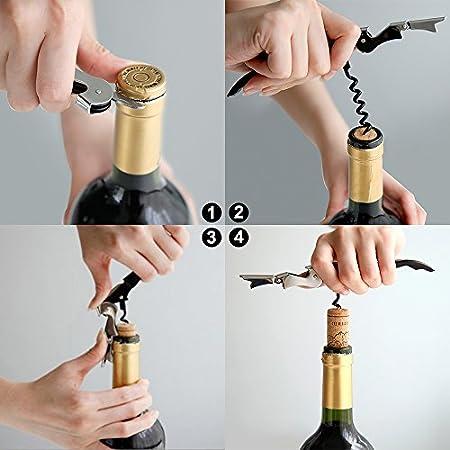 Sacacorchos abrelatas de vino de 2, MAXIN Acero inoxidable tres abridores de botellas, sacacorchos y cortadores de hoja para sommeliers, camareros y camareros.