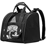 PAWABOO Pet Carrier Backpack, Adjustable Hands-Free Comfort Pet Cat Dog Carrier Backpack Travel Bag Tote with Padding Straps Mesh Windows, Easy-Fit for Traveling Hiking Camping Outdoor Use, Black