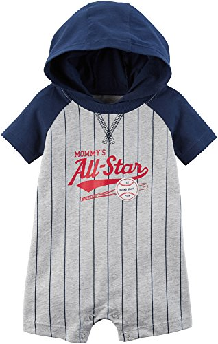 Carter's Baby Boys' Hooded French Terry Romper (18 Months, Heather/Baseball)