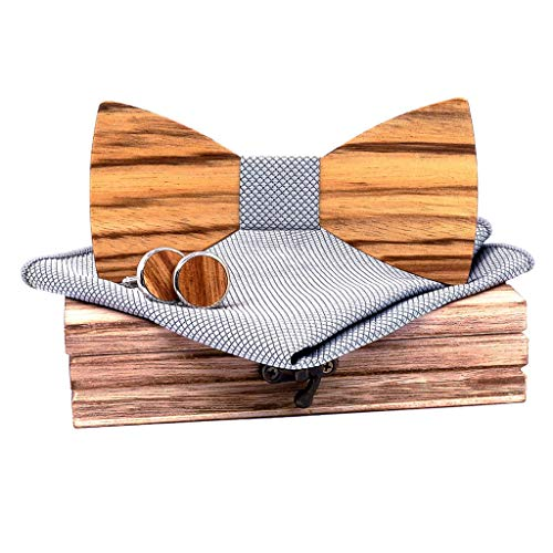 Men's Wooden Bow Tie Necktie 5 Pc by SFE Carved Bow tie +Jacquard Classic Square & Wooden box&Cufflinks&Brooch