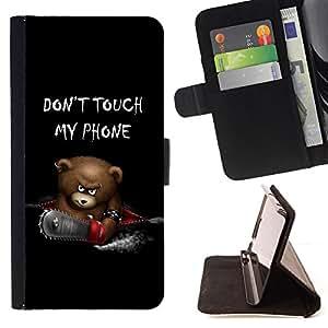 - Funny Don't Touch My Phone Bear/ Personalizada del estilo del dise???¡¯???¡Ào de la PU Caso de encargo del cuero del tir???¡¯????n del s - Cao - Fo