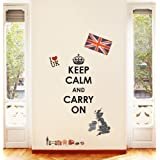 Decowall, DW-1309, Keep Calm and Carry On & Union Jack peel & stick wall decals stickers