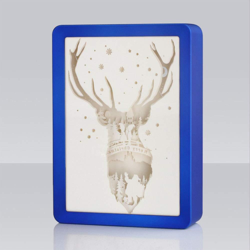 KSCD Lampada da Intaglio in Carta di Natale 3D Lampada da Intaglio in Carta Regalo di Natale Lampada da Intaglio in Carta di Halloween (USB),blu