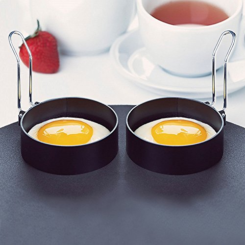 ❤Ywoow❤ Nonstick Stainless, 2 PCS Nonstick Stainless Steel Handle Round Egg Rings Shaper Pancakes Molds -