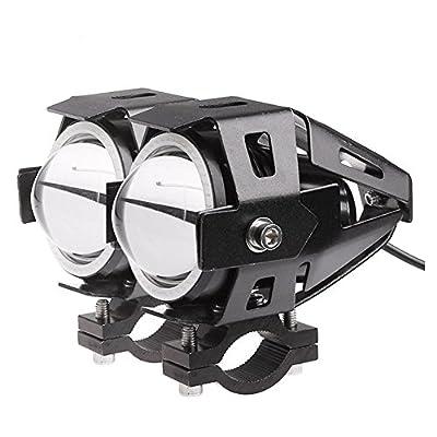 Lemonbest 2PCS Car Motorcycle LED Headlight CREE U7 LED Fog Lamp Front Spot Light DRL Spotlight Driving Daytime Lights Blue Circle
