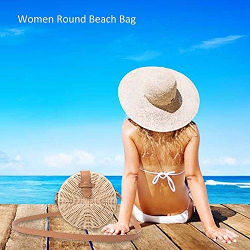 Blanco de de Bolso de blanco mano Bolso Caqui Rattan Bolso de Crossbody Beach mujeres tejido de para moda caqui paja hombro cheerfulus a verano wt6g46q