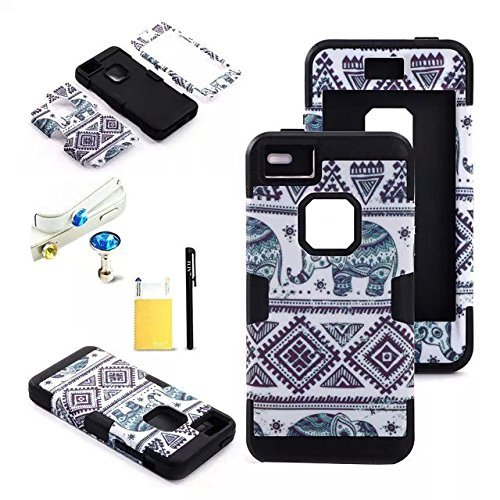 FLIN(TM) Fashion Elephant Tribe Pattern High Impact Case Cover For Apple iPhone 5C,W/ Anti Dust Plug(Color Random),LCD Film Screen Protector & Touch Stylus Pen, Black