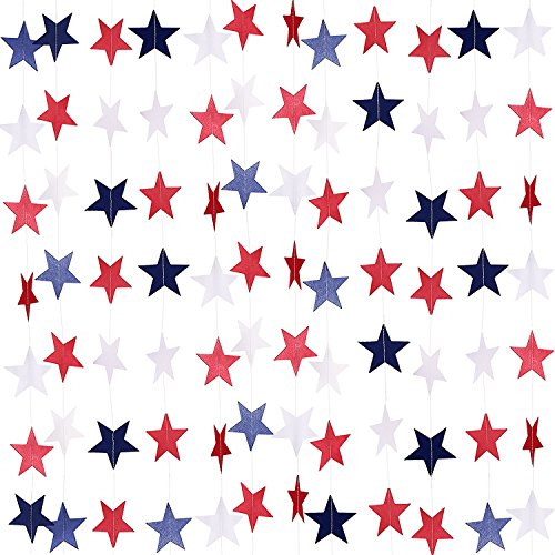 TecUnite 8 Strands Patriotic Star Streamers Banner Garland for 4th of July BBQ, Memorial Day, Veterans Day Party, Independence Day Celebration, Labor Day, Holiday Decorations, Red White -