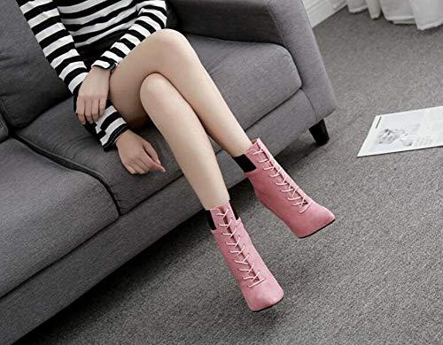 Botines Correas Zapatos Gran Tamaño Martin Tobillo Boote De Corte Cm 42 11 5 De UE Puntas De OL Pies Pink Los Aguja Bondage Cruz De Mujeres Zapatos Tamaño Tacón 35 De qxxHpEwB0