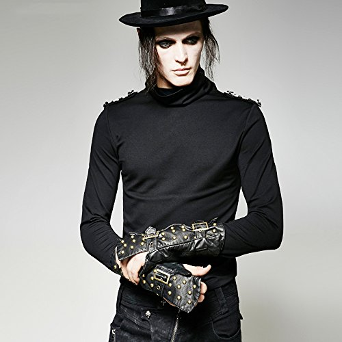 Black Leather Black Stud Martial Arts Forearm Guards Punk Style Gloves,Sexy Unisex Studded Gauntlets