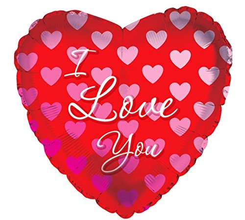 Creative Converting CTI Mylar Balloons, I Love You Gradient Hearts, 24'', Red/Pink pack of 5