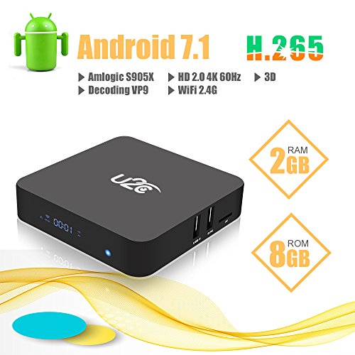 Android TV Box 7.1, U2C X Pro Quad Core 2GB Ram 8GB Rom Amlogic 64 Bit Smart Tv Box Support 4K 3D H.265 Ultra HD 2.4G Wifi(2017Update) by U2C