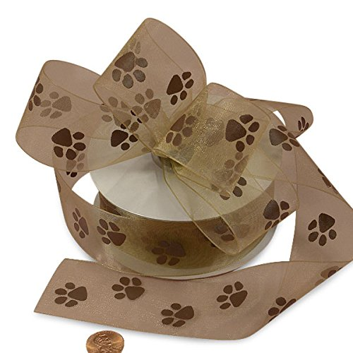 Ribbon Dog Bone - Brown Sheer Paw Prints Ribbon, 1-1/2