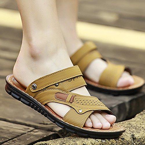 Xing Lin Sandalias De Cuero Sandalias De Verano Tendencias De Moda Masculina Tanto En Frío Zapatillas Para Hombres Desgaste Antideslizante Zapatillas De Playa Casual Hombres Condujo Zapatillas Hombres