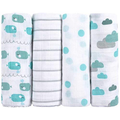 Emma & Noah Muslin Swaddle Blankets, 4 Pack, 100% Cotton, 31.5 x 31.5 inch, Blue