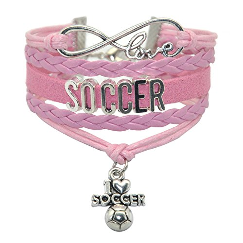 HHHbeauty Infinity Soccer Bracelet Jewelry Cute Soccer Ball Charm Bracelet Friendship Gift for Women,Girls,Men,Boys,Teens Including Fantastics Infinity Love Charm, Letters, Soccer Charm (Pink) (Soccer Mom Charm)