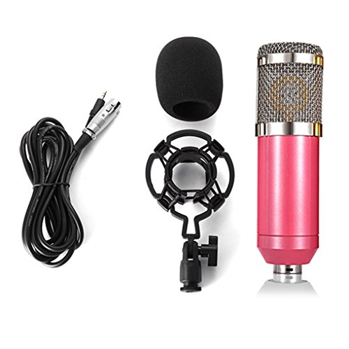 Egal BM 800 Computer Microphone 3.5mm Wired Condenser Sound Microphone with Shock Mount for Recording Braodcasting pink (Condenser Wired)