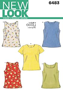 New Look Sewing Pattern 6483 Misses Tops, Size A (6-8-10-12-14-16)
