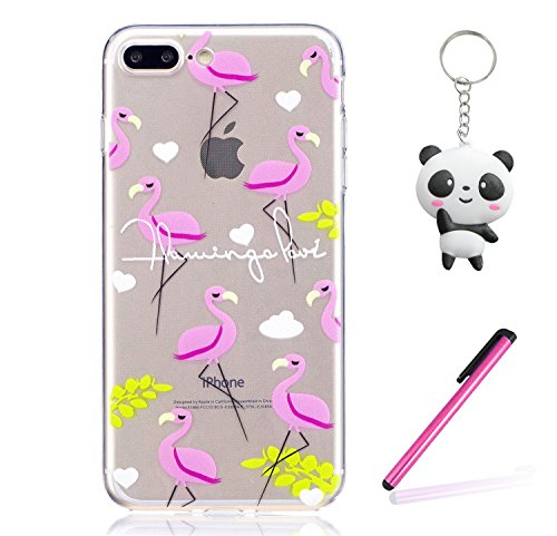 Coque iPhone 8 Plus Oiseau flamme rose Premium Gel TPU Souple Silicone Transparent Clair Bumper Protection Housse Arrière Étui Pour Apple iPhone 8 Plus + Deux cadeau