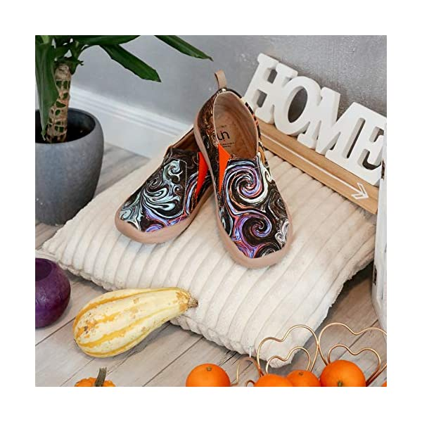 UIN Blossom Women's Fashion Floral Art Sneaker Painted Canvas Slip-On Ladies Travel Shoes