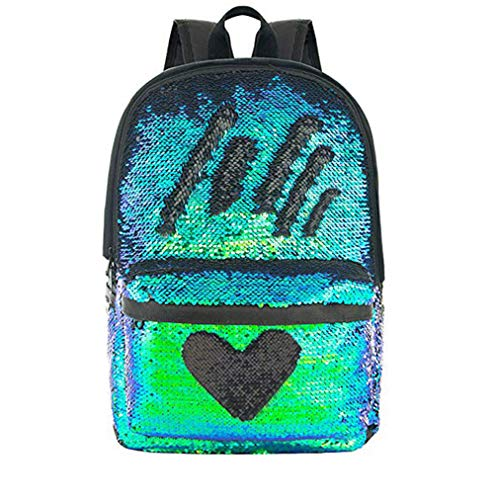 Pizoff Reversible Sequin Backpack for Girl Boys Sparkly Lightweight Travel Backpack AM004-02