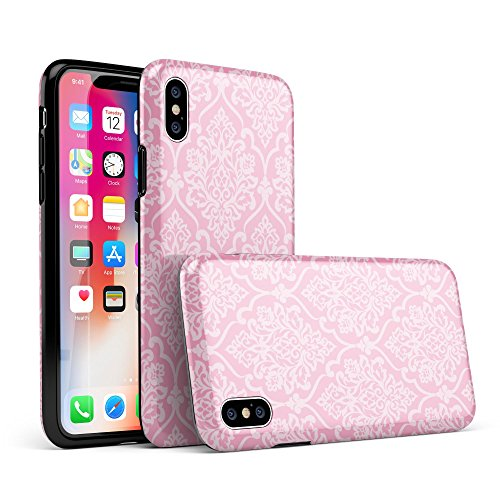 Shades of Pink Damask Pattern iPhone X Swappable Tough Two-Piece Hybrid Case - Gloss Shell/Clear Liner ()