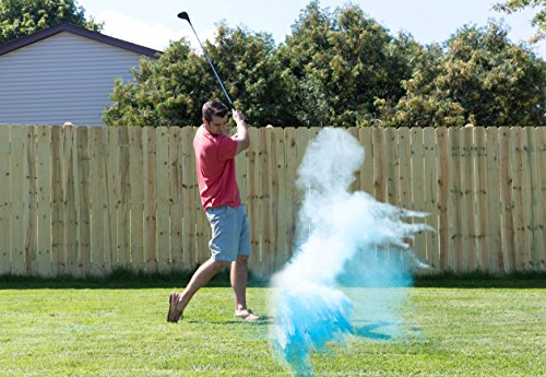 BLUE Gender Reveal Exploding GOLF BALL To Announce Birth of BABY BOY Great Party Idea or Gift (Includes Practice Ball & Tee)