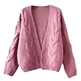 OCASHI Women Teen Girl Solid Tops Cardigans Chunky V Open Front Long Sleeve Knit Sweater Kimono Coat (US:16, Pink)