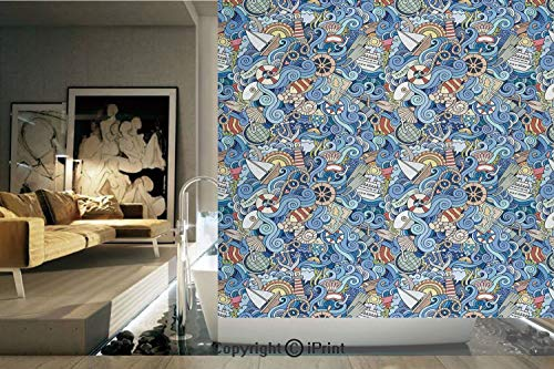(Ylljy00 Decorative Privacy Window Film/Abstract Pattern Sea Shells Sea Horse Corals Fish Rob Globe Maps Wavy Ocean/No-Glue Self Static Cling for Home Bedroom Bathroom Kitchen Office Decor)