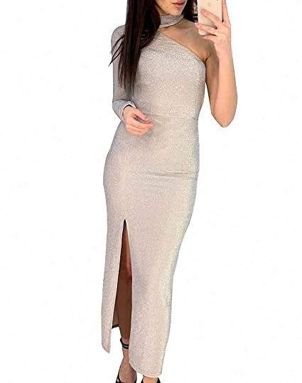6099382ab8937 Remelon Women Long Sleeve Shiny Glitter Mesh Cut Out Bodycon Flowy Mermaid  Party Maxi Long Dresses