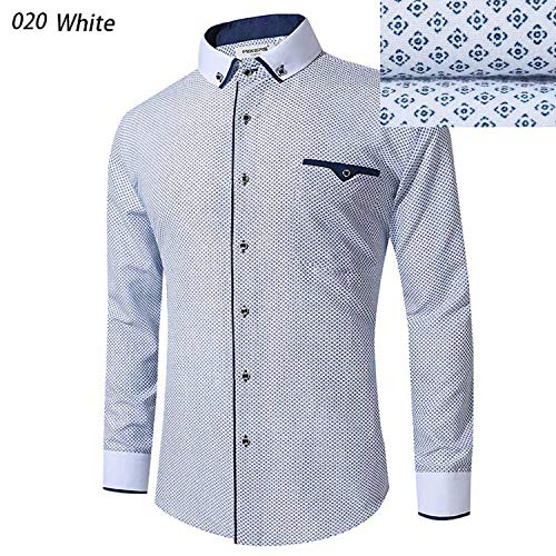 Ting room 2019 White Shirt Men Long Sleeve Business Casual Shirts Men Dress Shirts,White020,EU Size -
