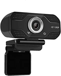 Webcam with Microphone,1080p HD Webcam Streaming Computer Web Camera USB Cable for PC Laptop Desktop Video Calling,Conferencing on line Classes Black