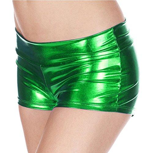 vita Stretto del di ballo Sexy Shorts lucido metallo Verde Pantaloncini sexy Palo Womens Donne Pantaloncini Brevetto Pelle Lucido Lingerie In bassa qtWUvBT
