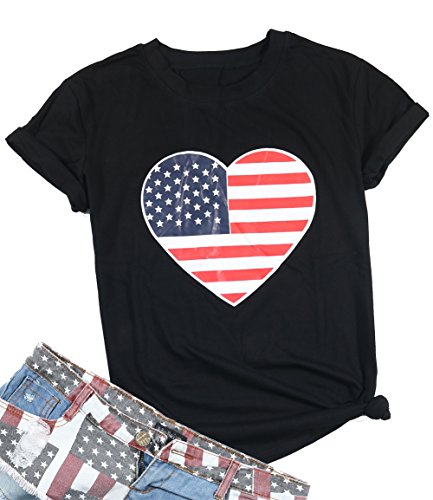 EGELEXY Summer Women Heart Shape American Flag Printed T-Shirt Female Casual Tops Tee Size XL (Black)