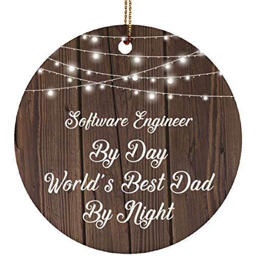 Designsify Software Engineer by Day World's Best Dad by Night - Ceramic Circle Ornament