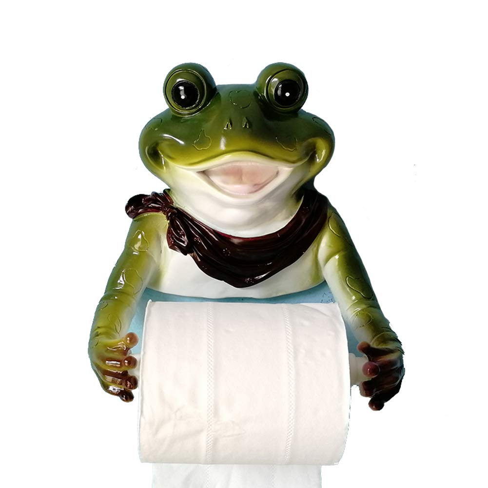 YOURNELO New Cute Wall Mounted Animal Emulational Roll Paper Holder for Toilet or Kitchen (Frog Green)