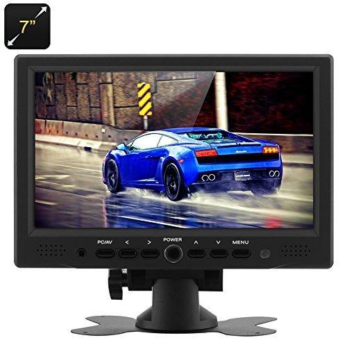 Tft Resolution Native (BONDWL 7 Inch TFT LCD Car Monitor HDMI PC Monitors - Vehicle Headrest Monitor with 800x480 Native Resolution, HDMI + VGA + AV Video Inputs, 360 Degree Rotating Stand)