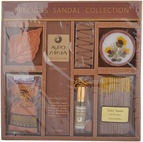 - Auroshikha Precious Collection Lavender/Rose/Sandalwood Incense Candle Flowers Oil Potpourri Fragrance Gift Box (Sandalwood)