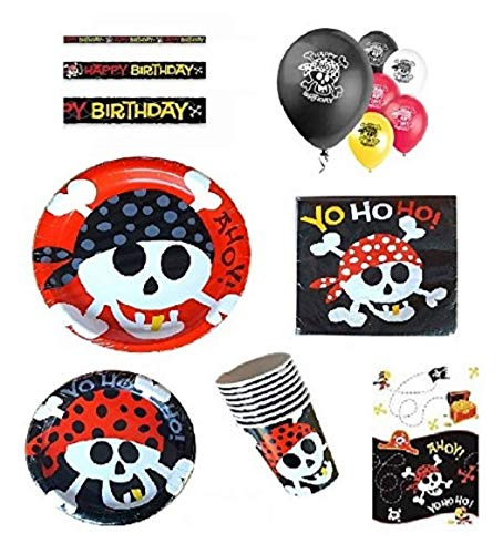 Pirate Birthday Party Supplies Pack for 16 Guests Including: Dinner Plates, Dessert Plates, Napkins, Cups, Birthday Banner, Balloons & Table Cover -