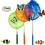 """#1 M-jump 3 Pack Colored Telescopic Butterfly Nets - Great for Catching Insects Bugs Fishing - Outdoor Toy for Kids Playing - Extendable from 6.8"""" to  34"""""""