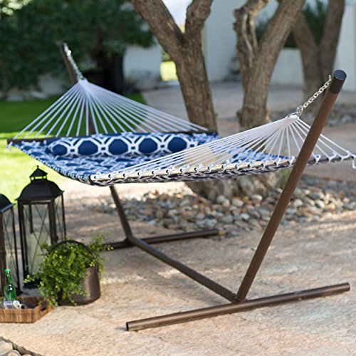Island Bay Quilted Hammock with Steel Stand, 13 Feet, Blue Lattice with Bronze Stand
